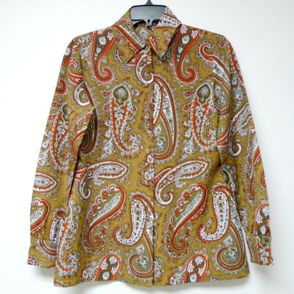 Vintage Tops - VTG 70s paisley long sleeve button down shirt